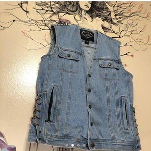 Vintage Medium jean biker vest